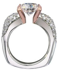Tension settings for diamond wedding ring