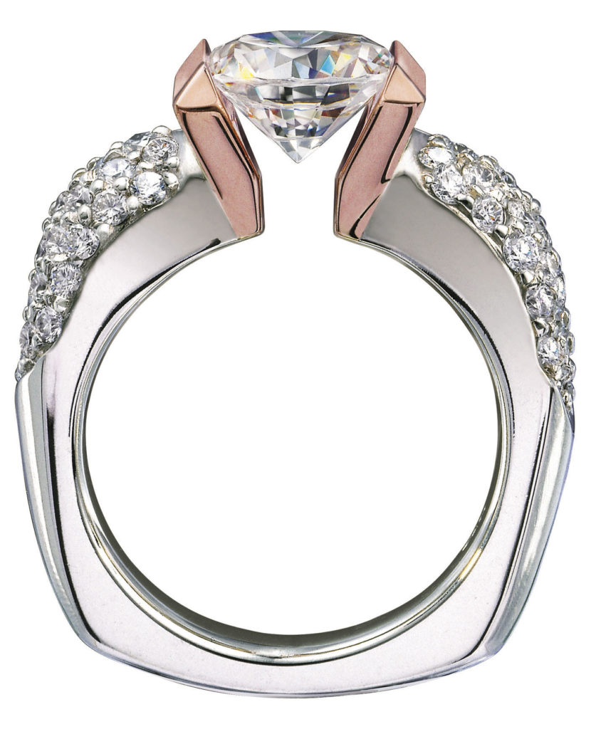Tension settings for diamond wedding ring